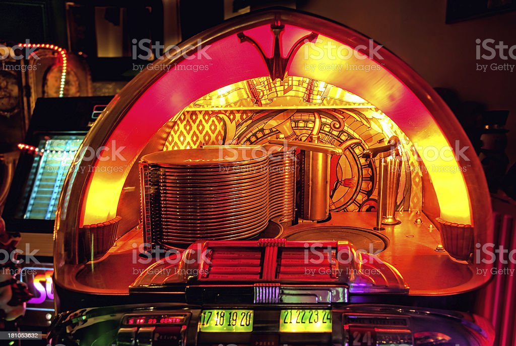 Antique shop with jukeboxes stock photo