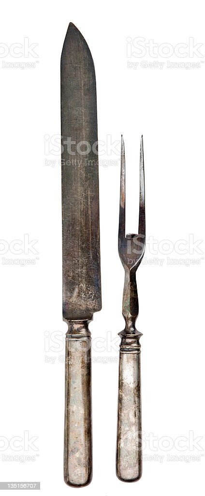 Antique silver carving utensils royalty-free stock photo