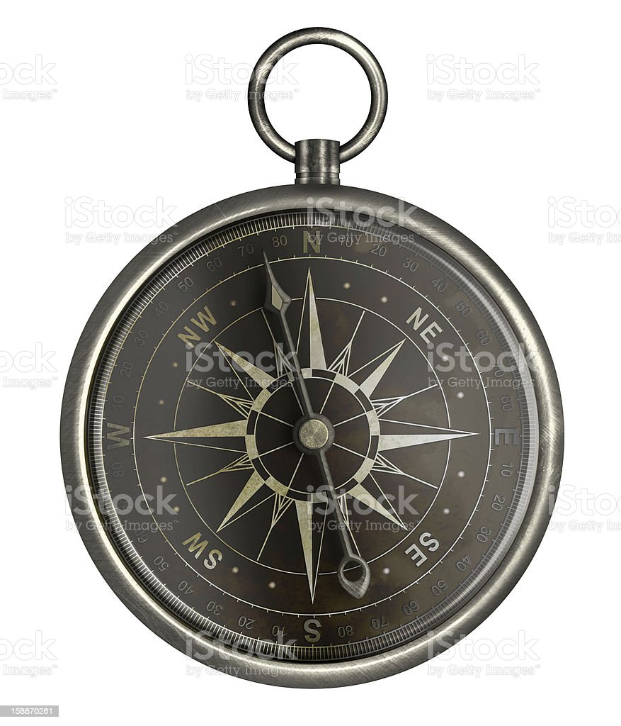 antique silver compass with dark face isolated on white royalty-free stock photo
