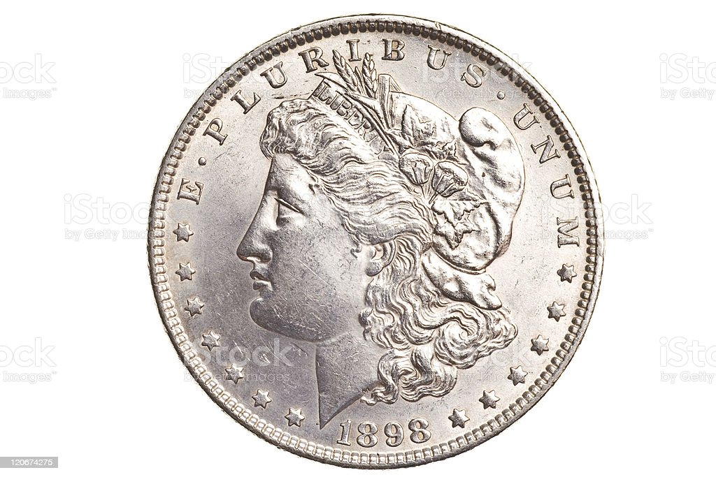 antique silver dollar isolated royalty-free stock photo