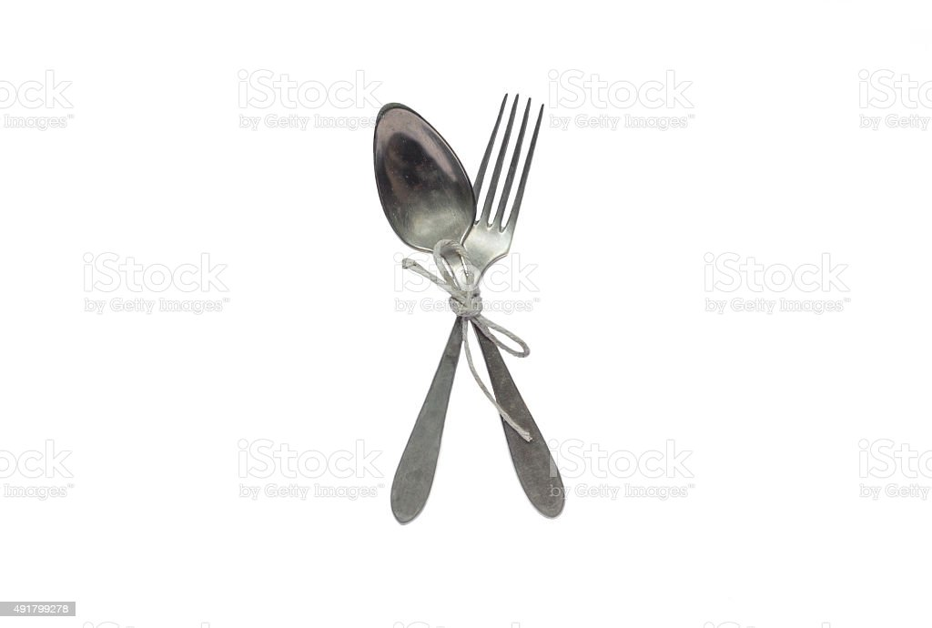 Antique silver fork and spoon stock photo