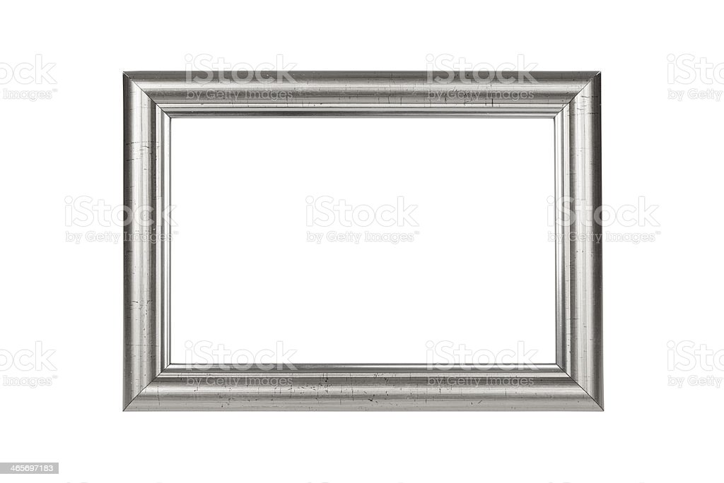 Antique silver frame with cracked paint on white background stock photo