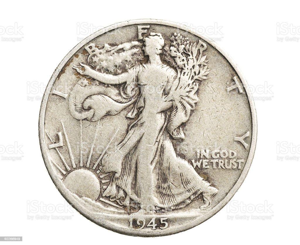 antique silver half-dollar stock photo