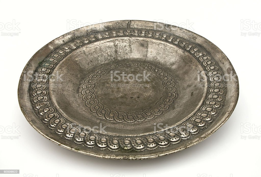 Antique silver plate, isolated on white stock photo