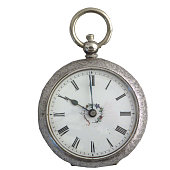Antique silver pocketwatch, isolated background