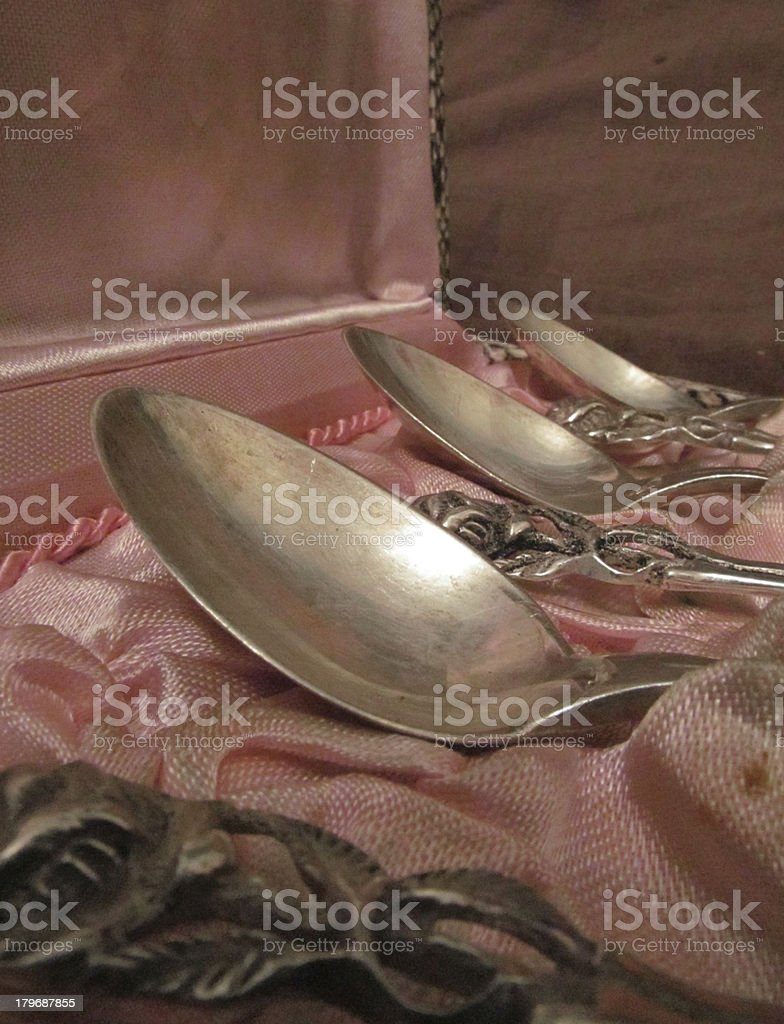 antique silver teaspoons royalty-free stock photo