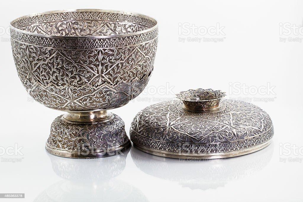 Antique silver Thai bowl on white background stock photo