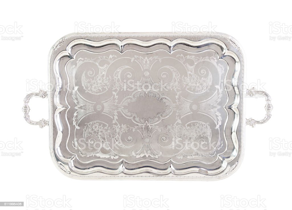 Antique silver tray, isolated on white with a clipping path. stock photo