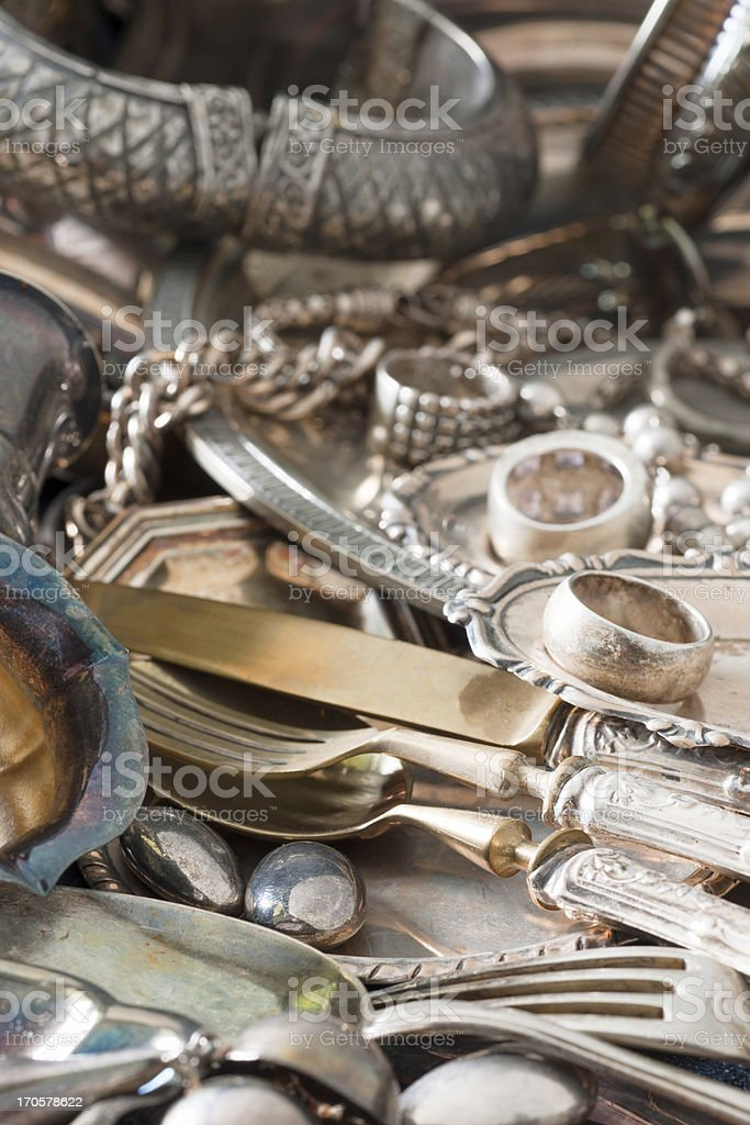 Antique Silverware and Old Silver Jewelry Background stock photo