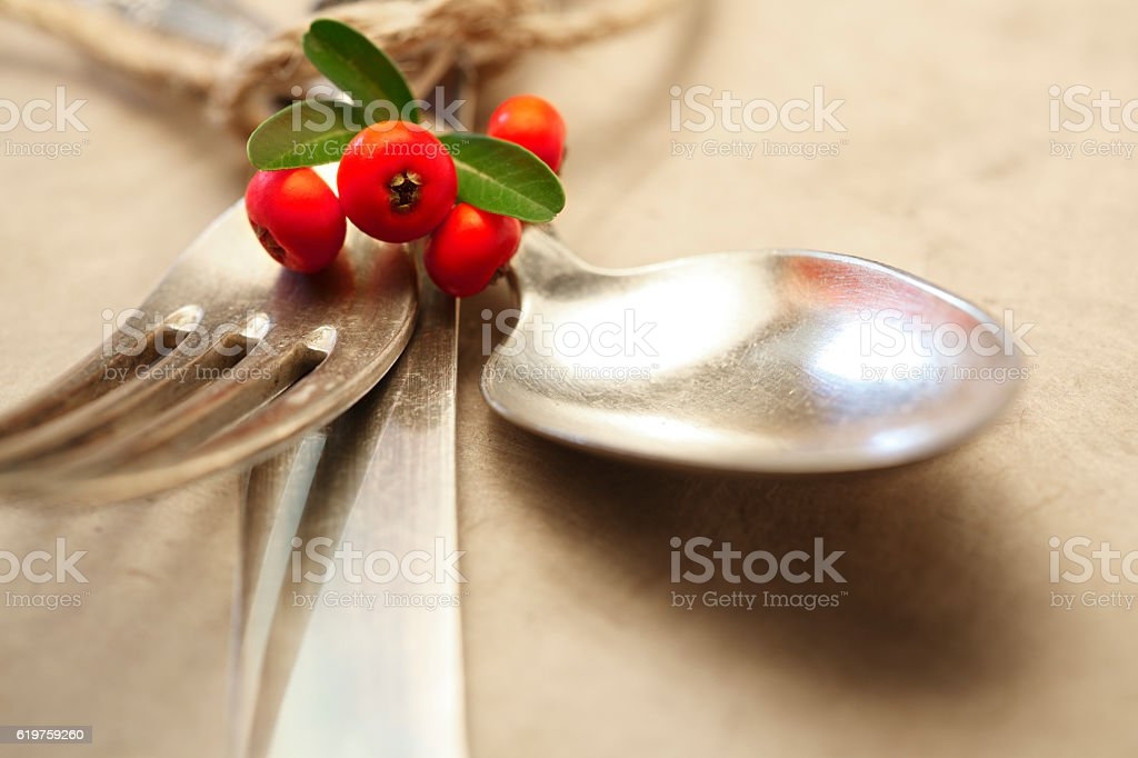 Antique Silverware Bound By Twine With Holiday Embellishmnet stock photo