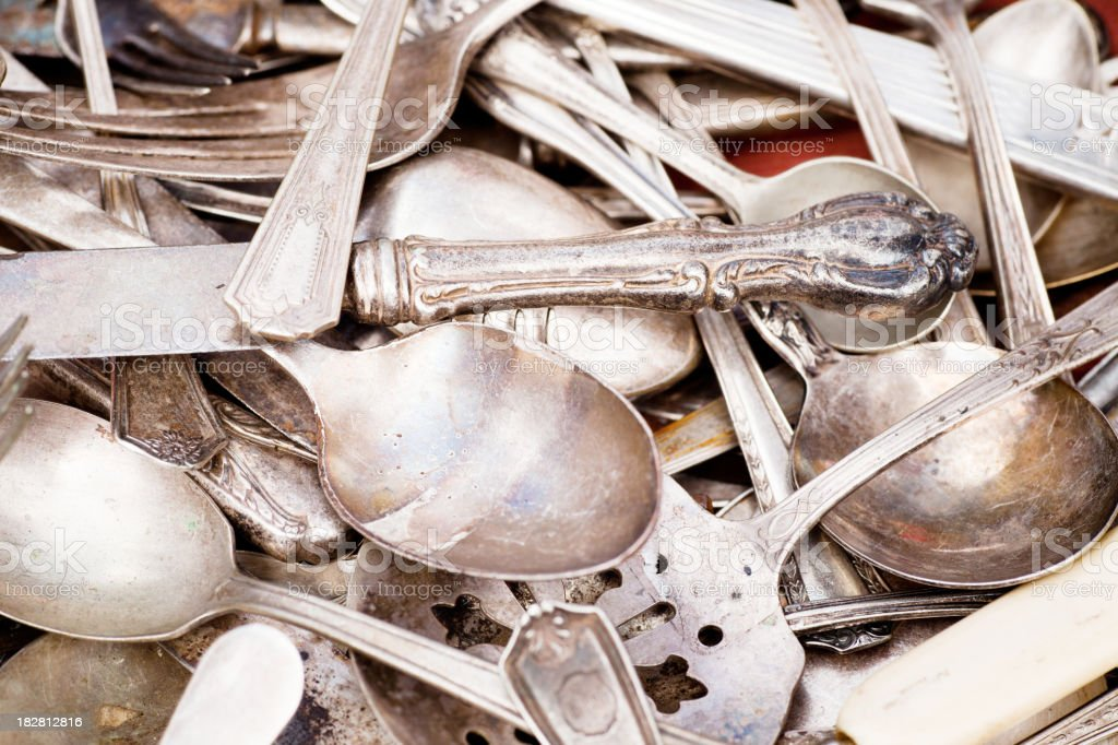 Antique silverware royalty-free stock photo