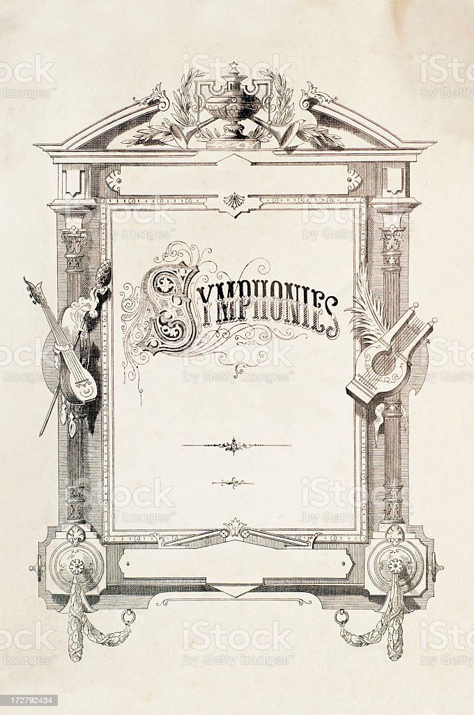Antique Simphonies poster with frame and scroll stock photo