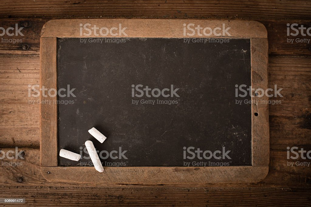 Antique Slate Chalkboard with Wood Frame on Old Trunk stock photo