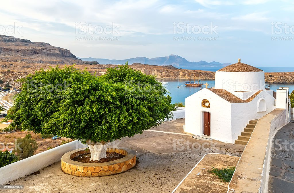 antique small church in Lindos, Rhodes island,Greece stock photo
