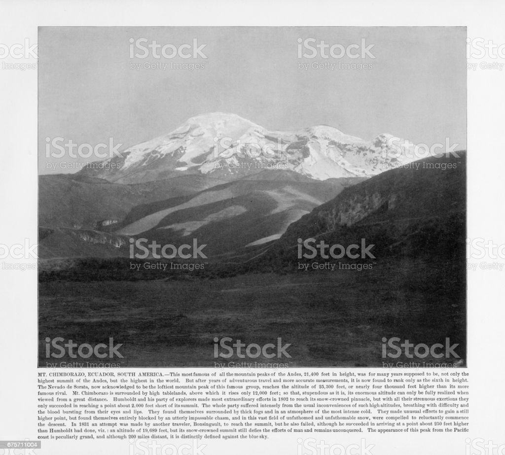 Antique South American Photograph: Mt. Chimborazo, Ecuador, South America, 1893 stock photo