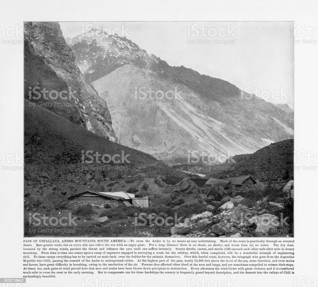 Antique South American Photograph: Pass of Uspallata, Andes Mountain, South America, 1893 stock photo