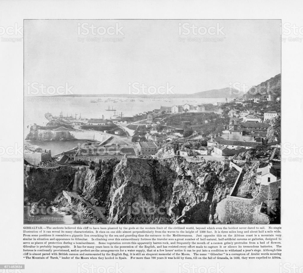 Antique Spanish Photograph: Gibraltar, Spain, 1893 stock photo