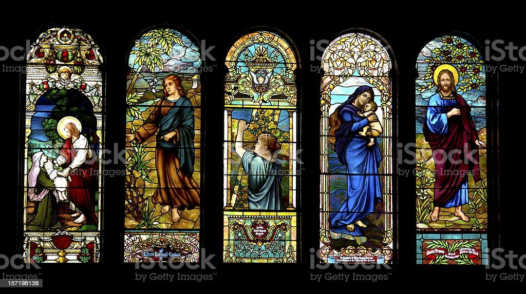 Antique Stained Glass in Sanctuary royalty-free stock photo
