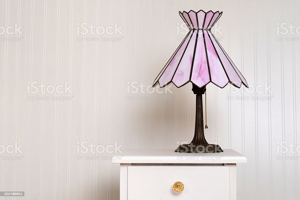 antique stained glass lamp stock photo