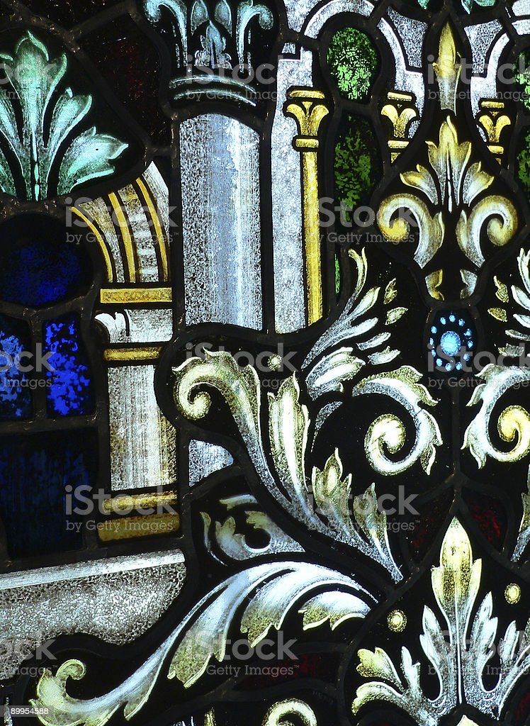 Antique stained glass window royalty-free stock photo