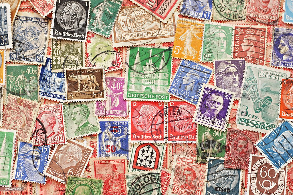 Antique stamp collection background stock photo