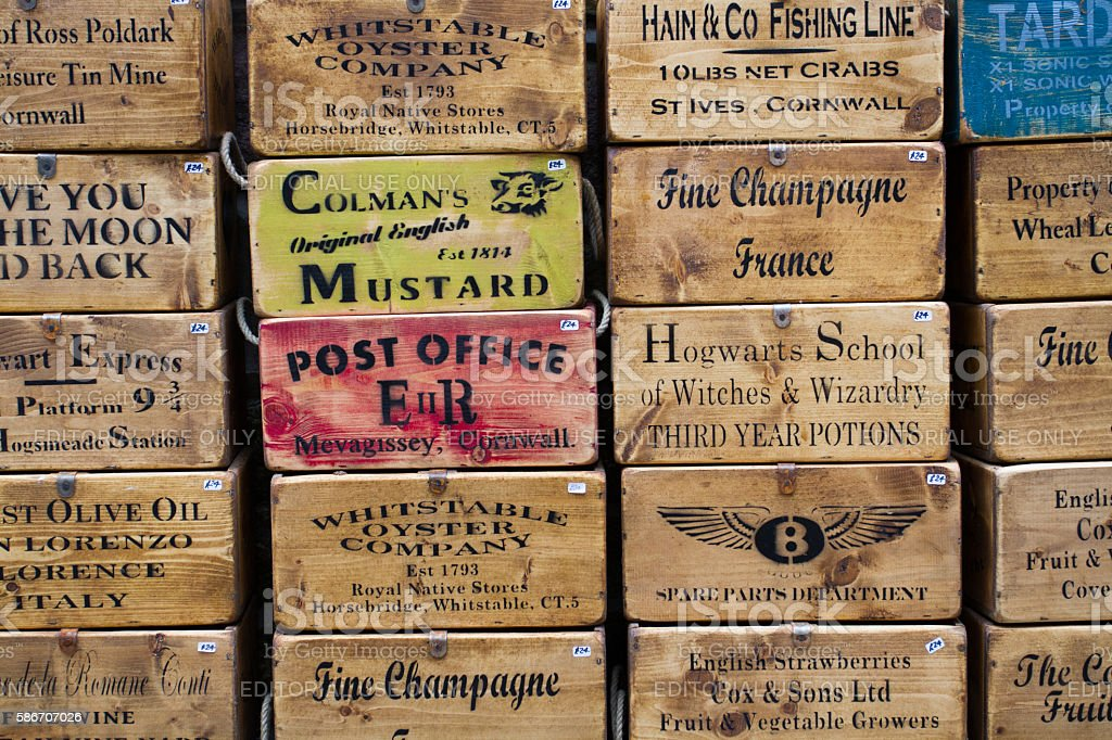 Antique Stenciled Boxes stock photo