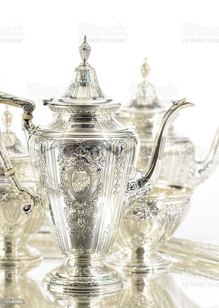 Antique Sterling Silver Tea and Coffee Set stock photo