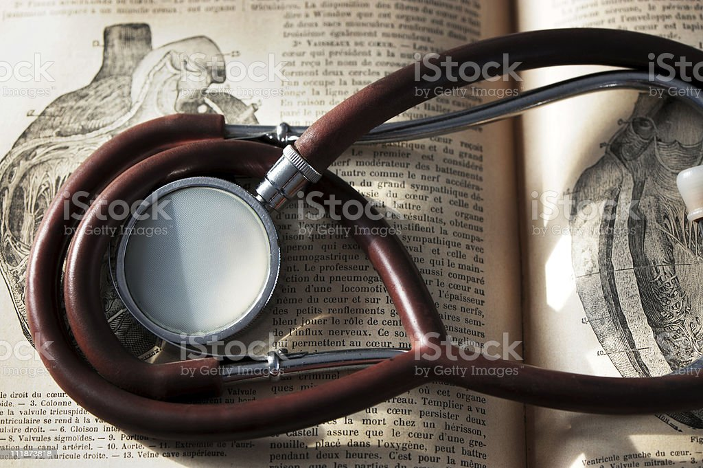 Antique Stethoscope and Heart Illustration royalty-free stock photo