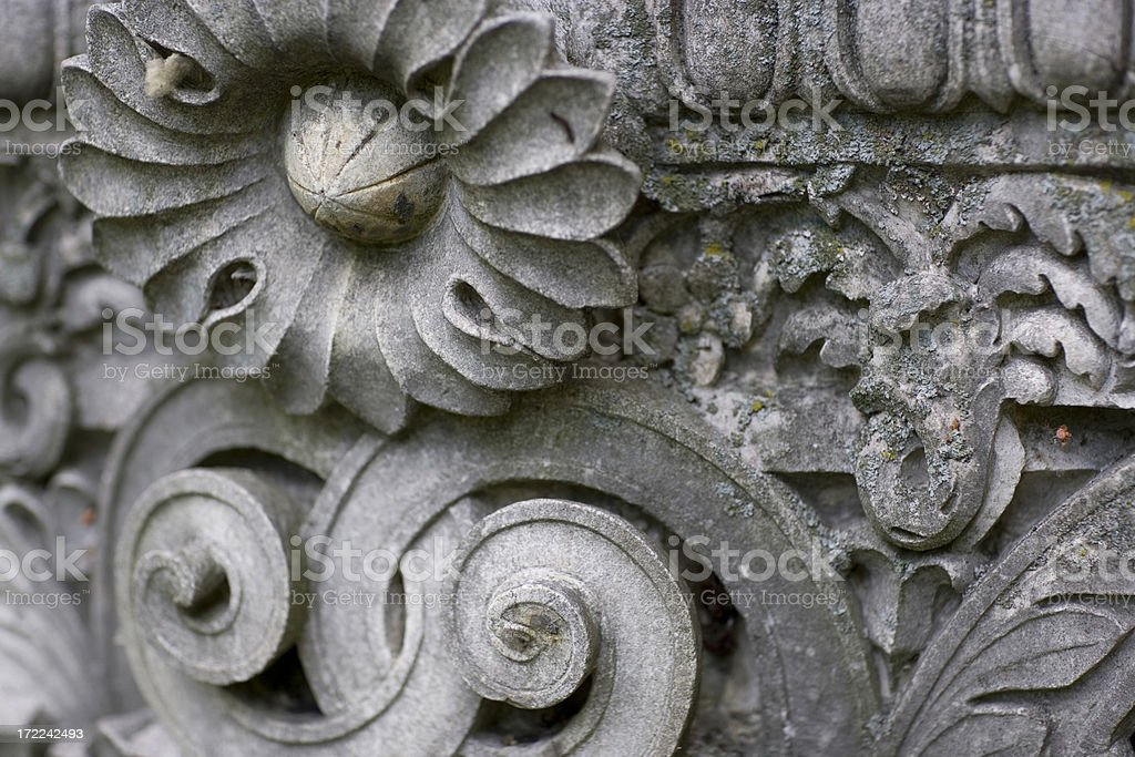 Antique stonework in ruined building stock photo