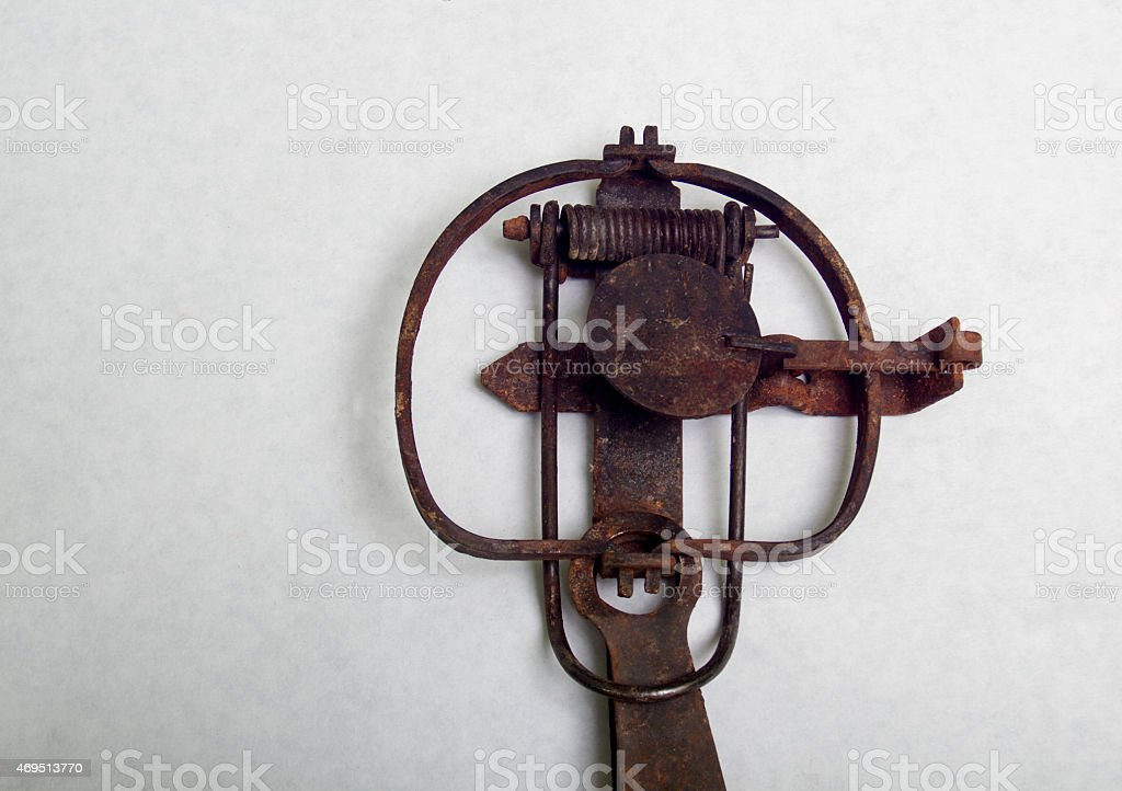 Antique Stop Loss Long Spring Trap stock photo