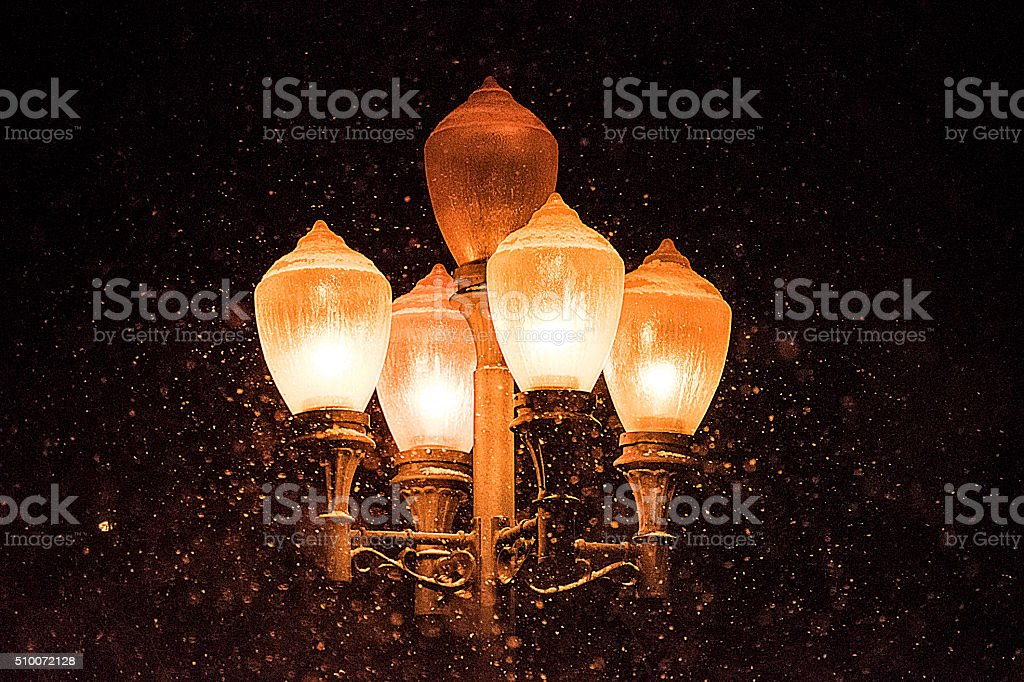 Antique street lights in the snow royalty-free stock photo