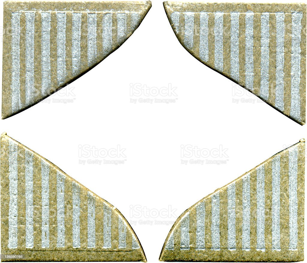 Antique striped photo corners -- all 4 royalty-free stock photo