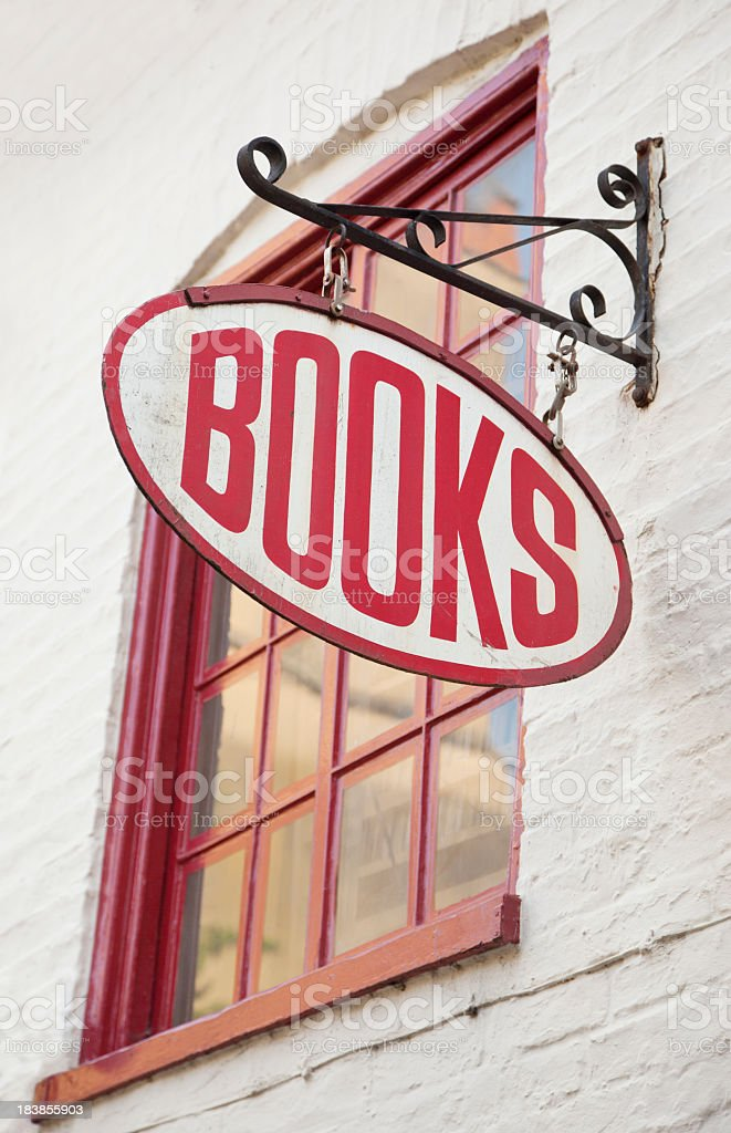 Antique style bookstore with red text royalty-free stock photo