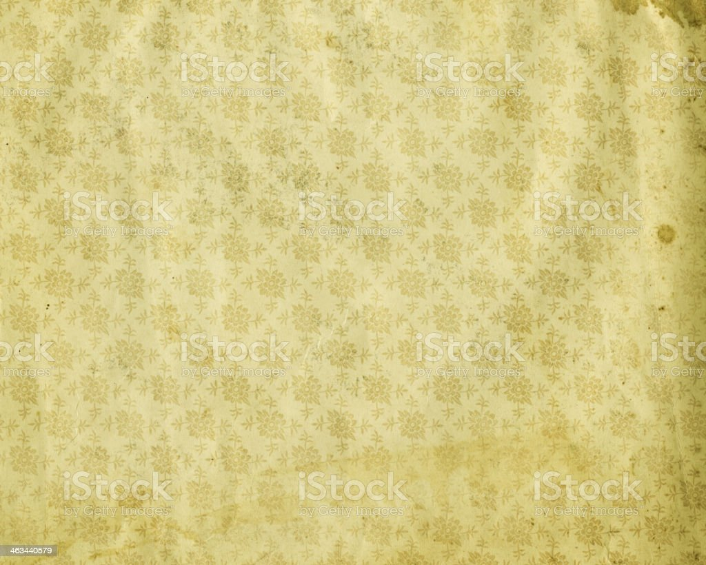 antique style stained floral wallpaper stock photo