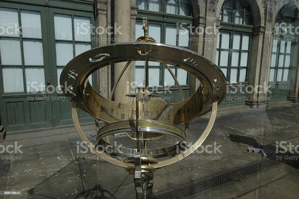 Antique sundial on display at Zwinger, Dresden royalty-free stock photo