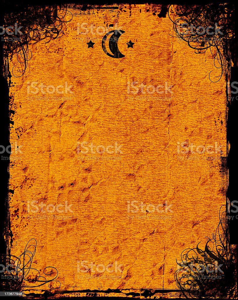 Antique Swirly Grunge with Sun & Moon  - Background royalty-free stock photo