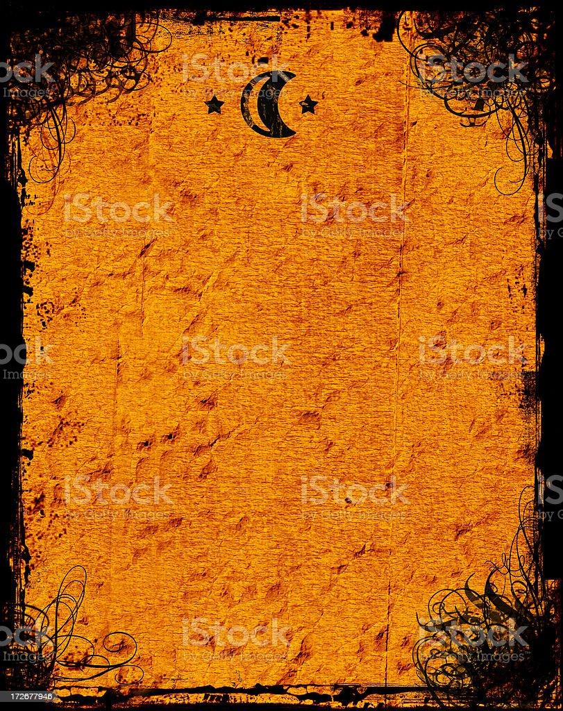 Antique Swirly Grunge with Sun & Moon  - Background stock photo