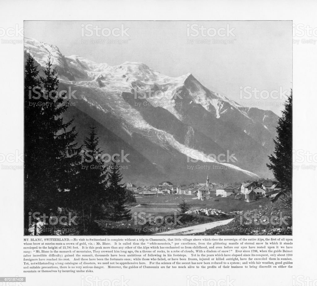 Antique Swiss Photograph: Mt. Blanc, Switzerland, 1893 stock photo