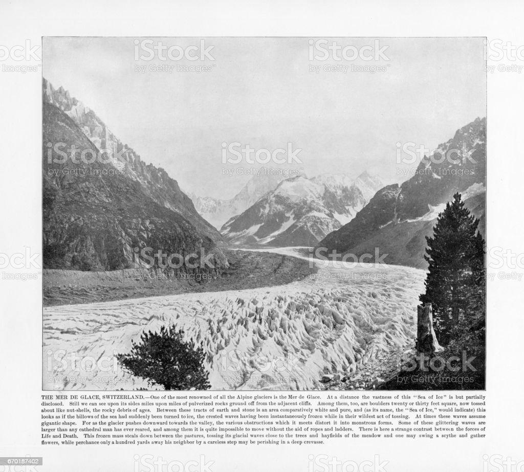 Antique Swiss Photograph: The Mer De Grace, Switzerland, 1893 stock photo
