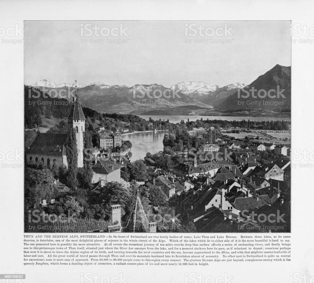Antique Swiss Photograph: Thun and the Bernese Alps, Switzerland, 1893 stock photo