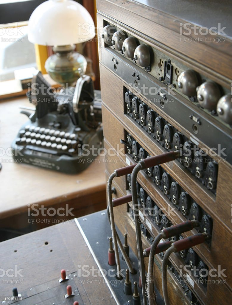 Antique switchboard and typewriter stock photo