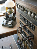 Antique switchboard and typewriter