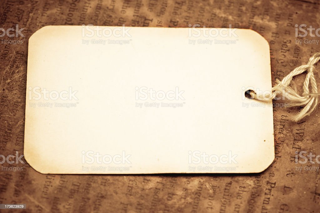 Antique tag, text stock photo