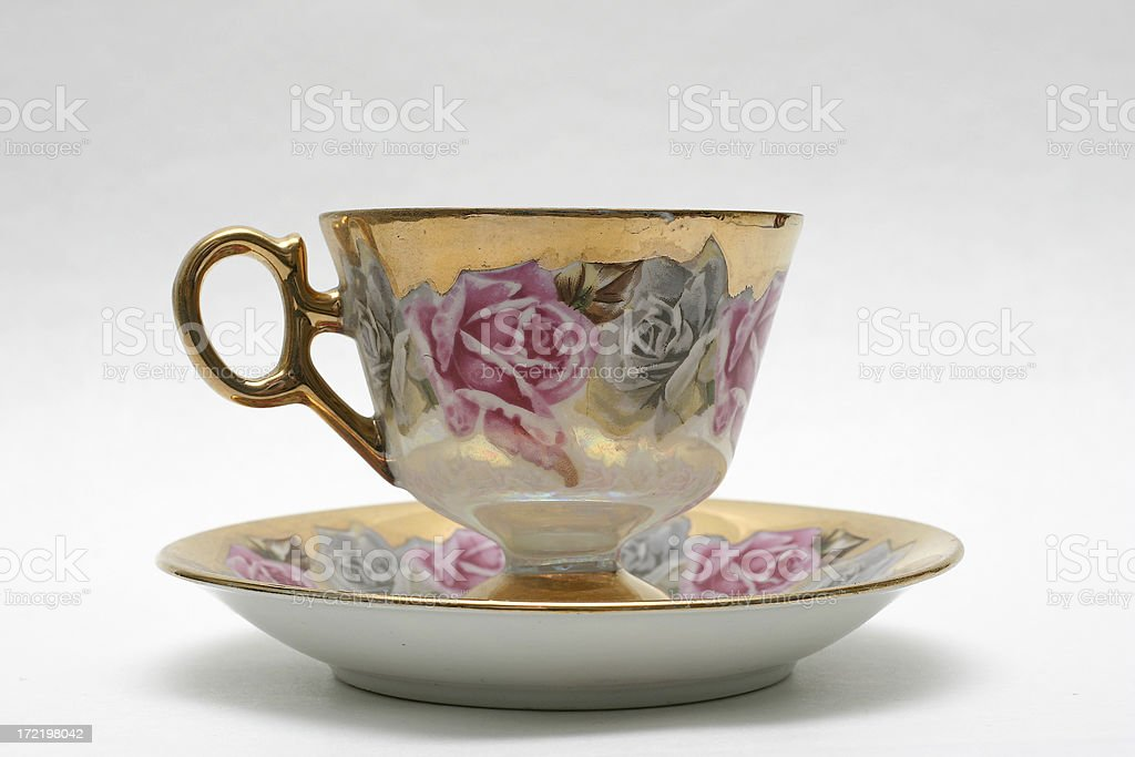 antique teacup and saucer royalty-free stock photo