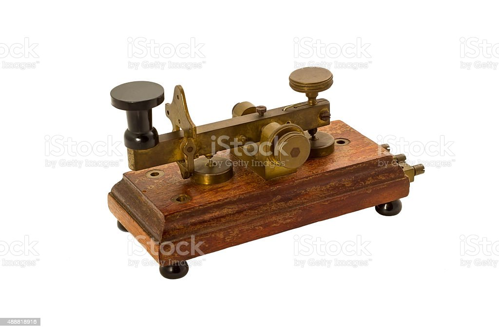 Antique telegraph isolated. stock photo