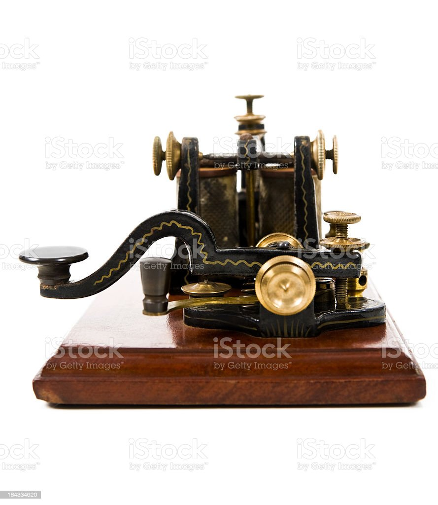 Antique Telegraph Machine on white background stock photo