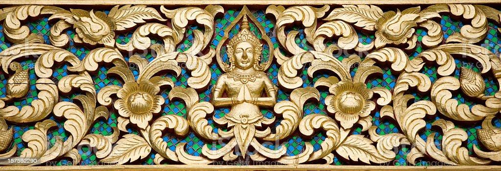 Antique Thai Buddhist temple decoration. stock photo