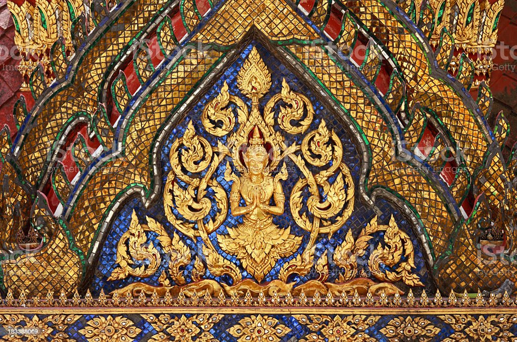 Antique Thai Buddhist temple decoration. royalty-free stock photo