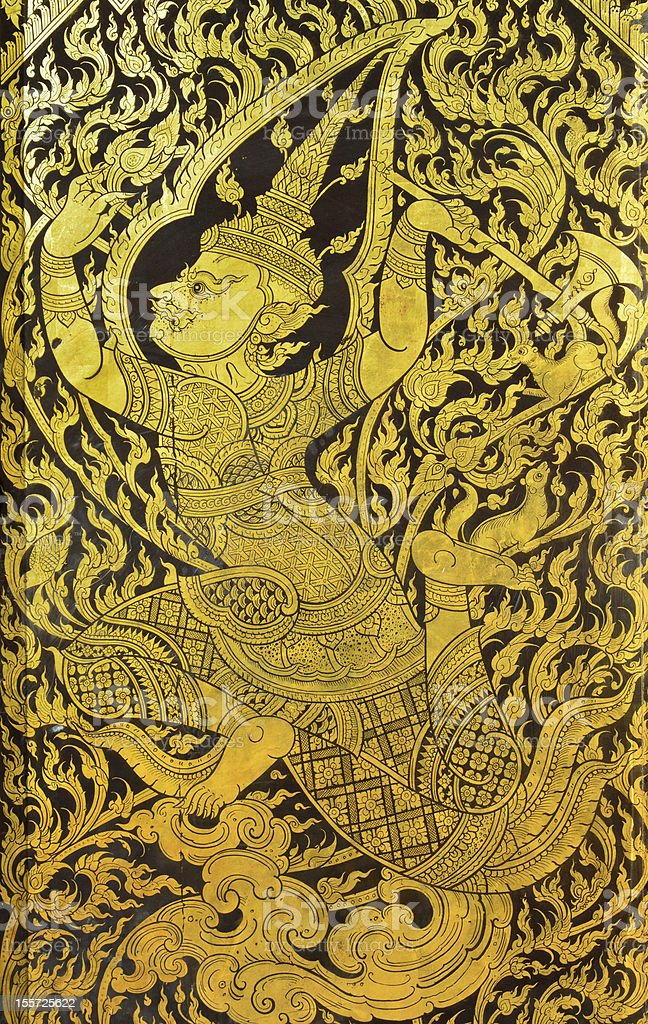Antique Thai temple mural patterns. royalty-free stock photo