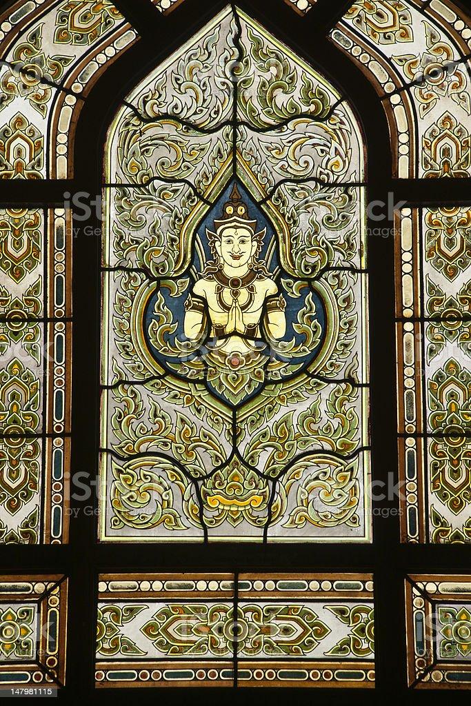 Antyczny tajskiej świątyni Witraż motywami, w Bangkoku w Tajlandii. zbiór zdjęć royalty-free